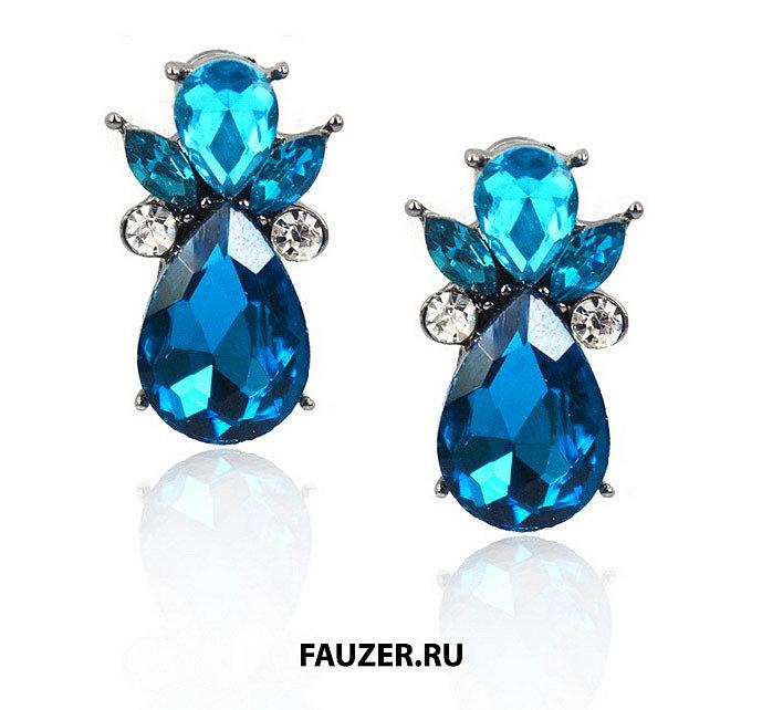 Модные синие серьги для ушей женские и для девочек
