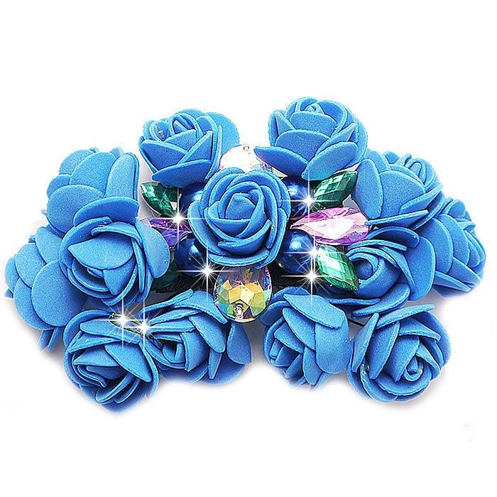 Брошь синий цветок