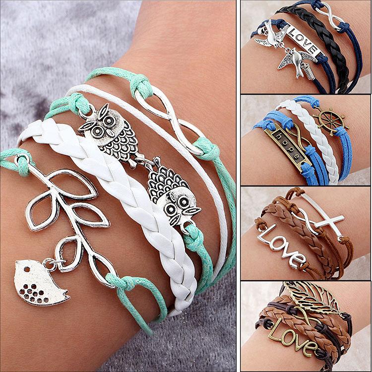Плетеные кожаные женские браслеты фирмы Fauzer