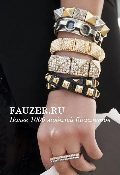 Кожаные женские браслеты с золотыми и серебряными застежками