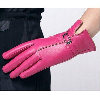 перчатки розовые из кожи от Fauzer