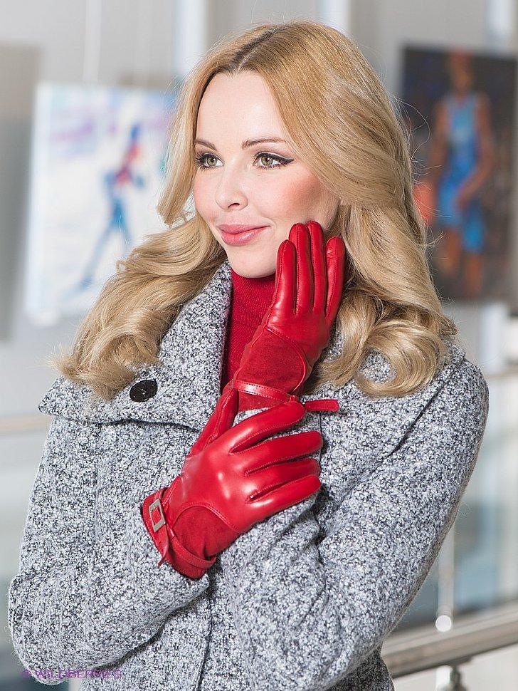 перчатки красные из кожи от Fauzer