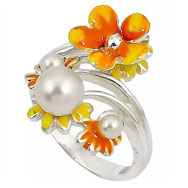 Кольца с жемчугом -  с камнями, стразами, в золоте и серебре