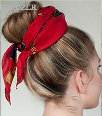 Платки на голову - красивые узлы  для прически
