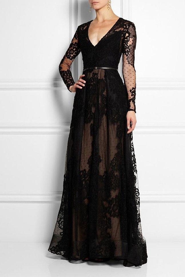 Красивые черные платья в пол вечерние купить
