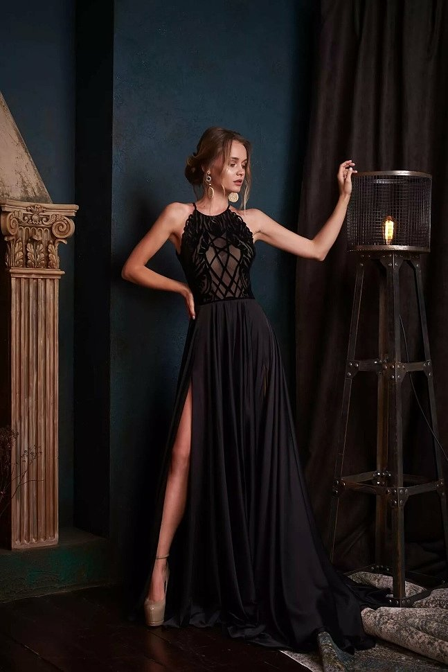 Красивые черные платья в пол вечерние