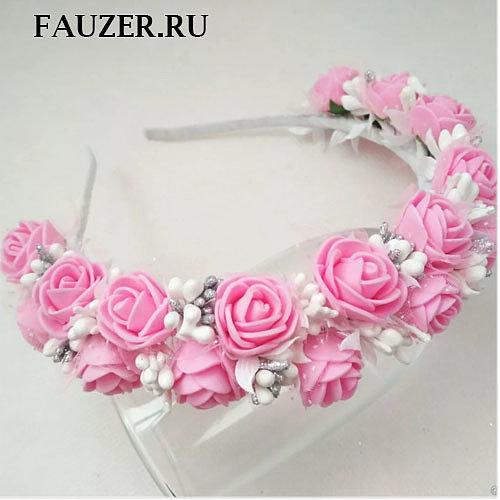 Ободок с цветами розовый  ручной работы