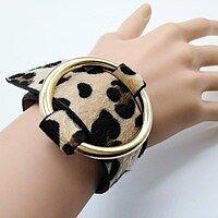 Кожаный женский браслет на руку