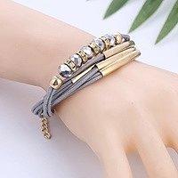 Кожаный женский браслет на руку  золото