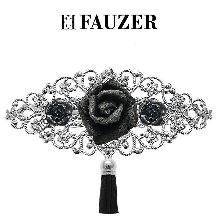 Металлическая заколка для волос Fauzer с черными цветами