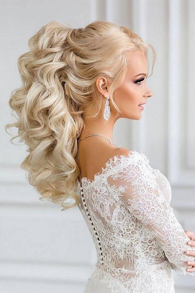 Свадебная прическа хвост с локонами