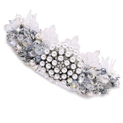 белый жемчужный ободок обруч на голову с кристаллами бисером кружевом купить в магазине