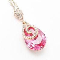 Розовая подвеска на шею с кристаллами Сваровски - модные и стильные  украшения для молодежи! b8717c0268a